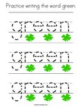 Practice writing the word green. Coloring Page