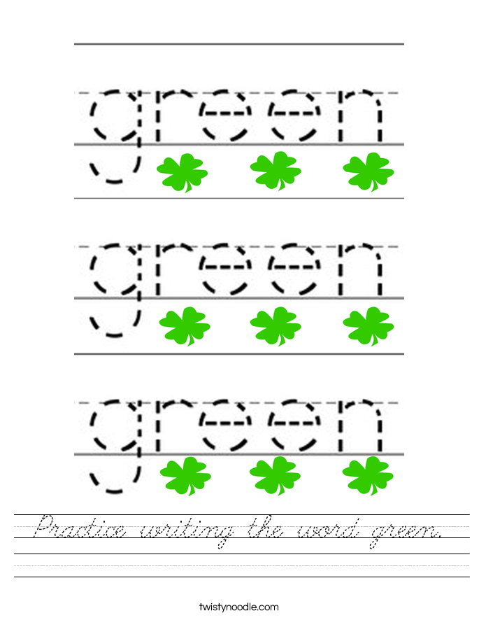 Practice writing the word green. Worksheet