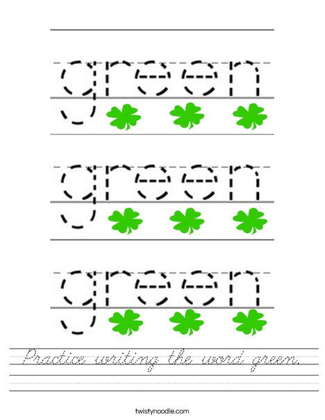 Trace the word green. Worksheet