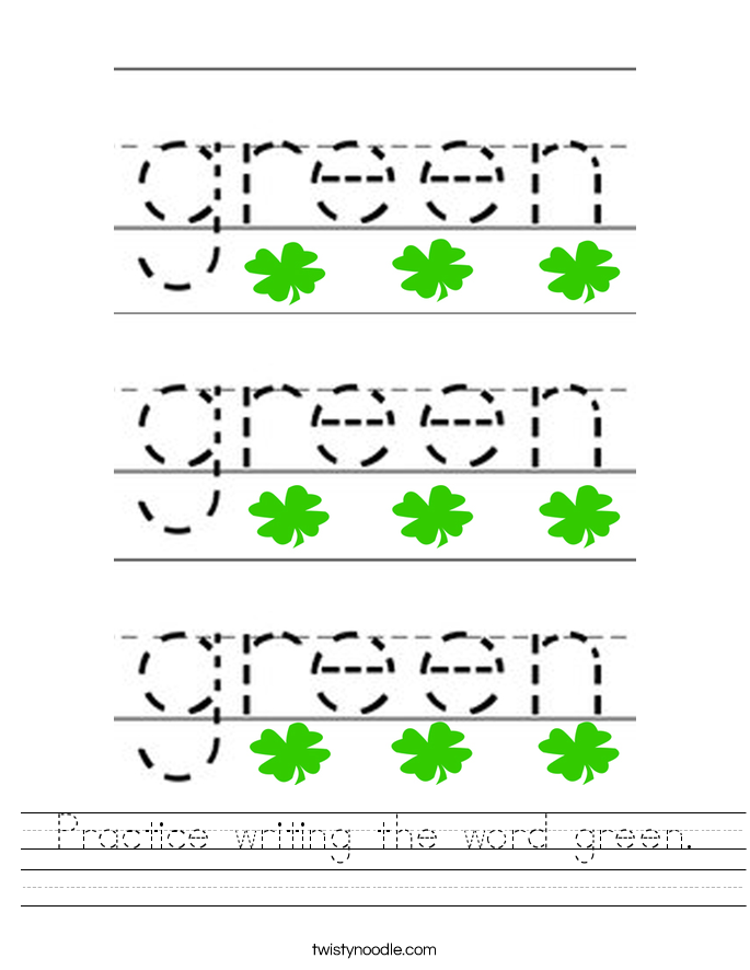 Practice writing the word green. Worksheet