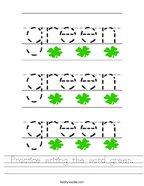 Practice writing the word green Handwriting Sheet
