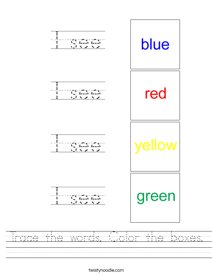 Trace the words. Color the boxes. Worksheet