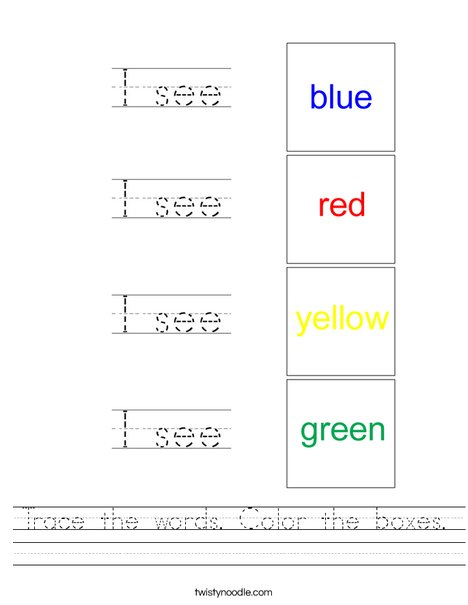 Trace the words and color the boxes Worksheet