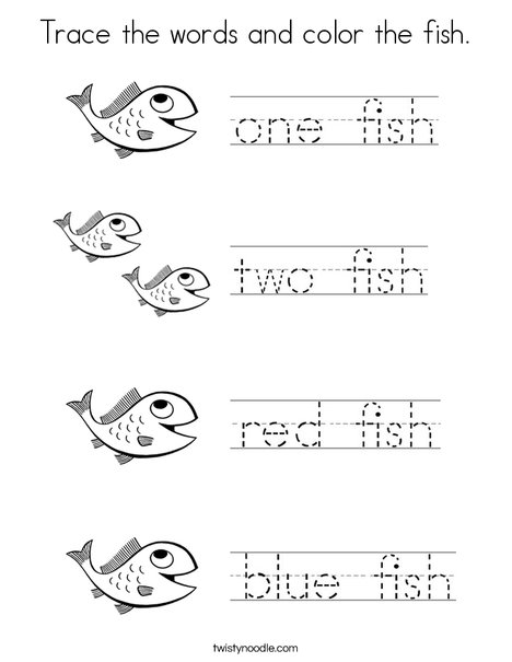 Trace the words and color the fish. Coloring Page