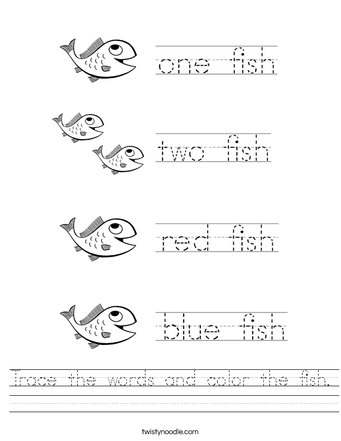 Trace the words and color the fish. Worksheet