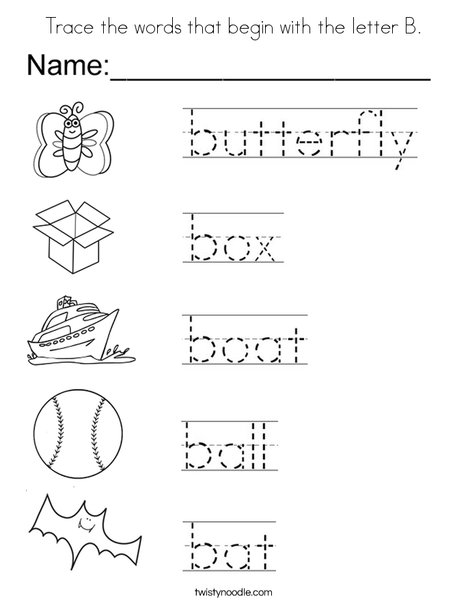 Trace the words that begin with the letter B. Coloring Page