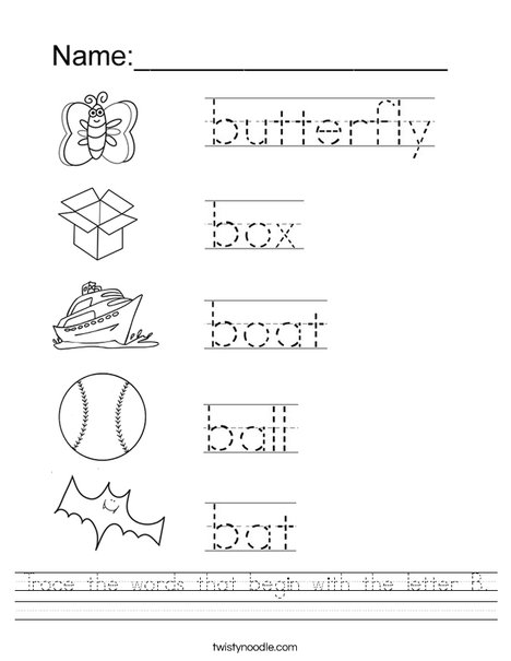 Trace the words that begin with the letter B. Worksheet