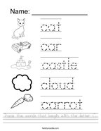 Trace the words that begin with the letter C Handwriting Sheet
