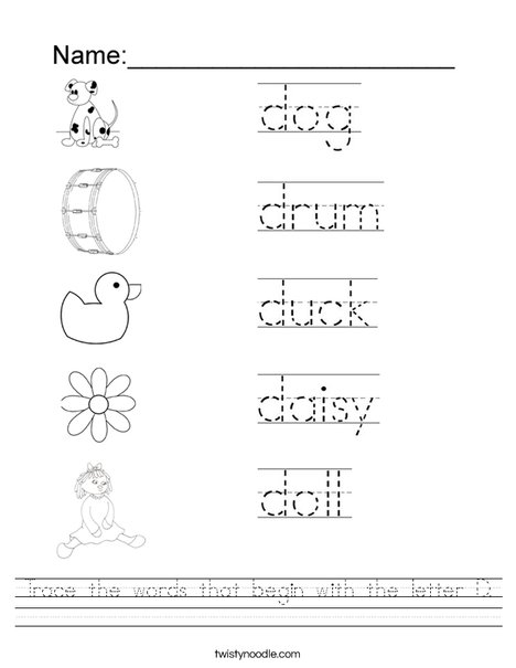 Printables D Worksheets letter d worksheets davezan trace the words that begin with worksheet twisty noodle