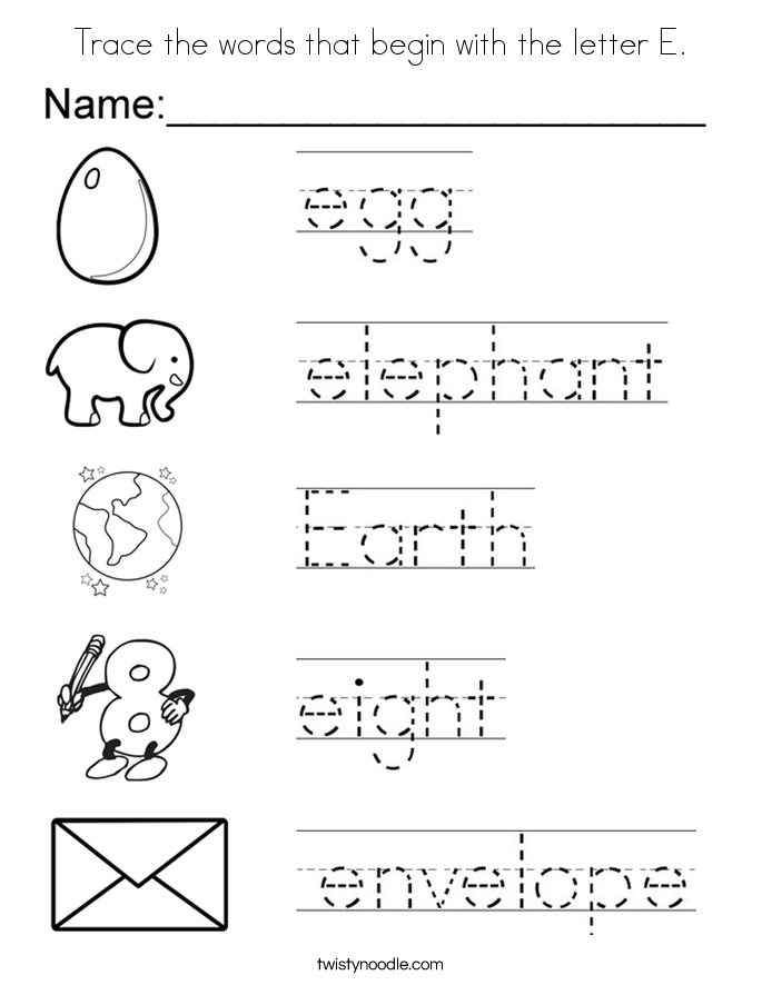 Trace the words that begin with the letter E. Coloring Page