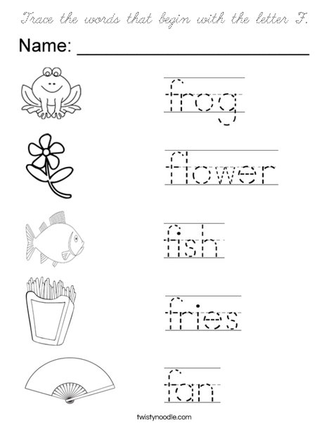 coloring pages starting with q | Trace the words that begin with the letter F Coloring Page ...