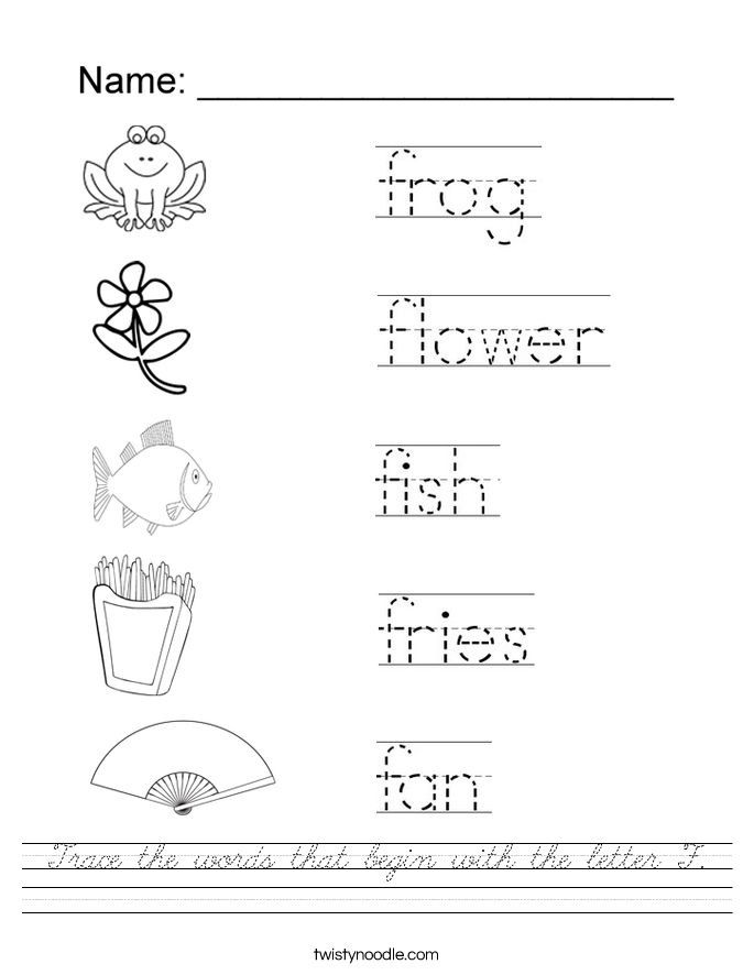 Trace the words that begin with the letter F Worksheet ...