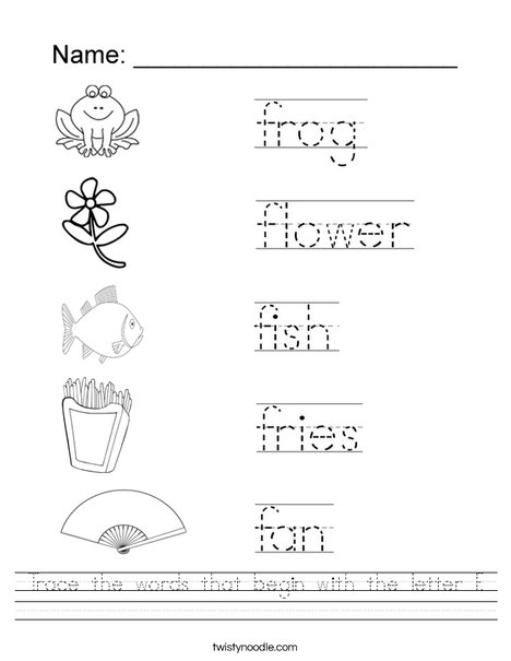 Trace the words that begin with the letter F. Worksheet
