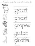 Trace the words that begin with the letter G. Coloring Page