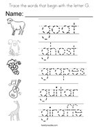 Trace the words that begin with the letter G Coloring Page