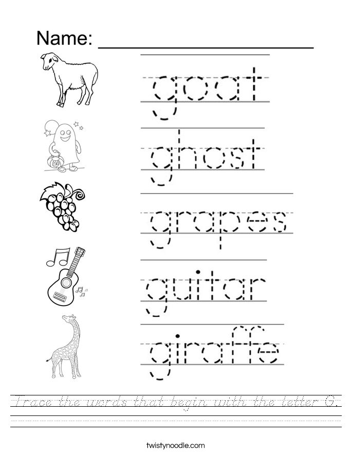 Trace the words that begin with the letter G. Worksheet