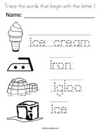 Trace the words that begin with the letter I Coloring Page