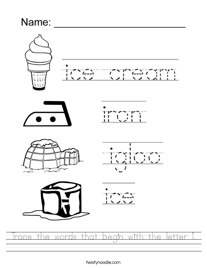 Trace the words that begin with the letter I. Worksheet