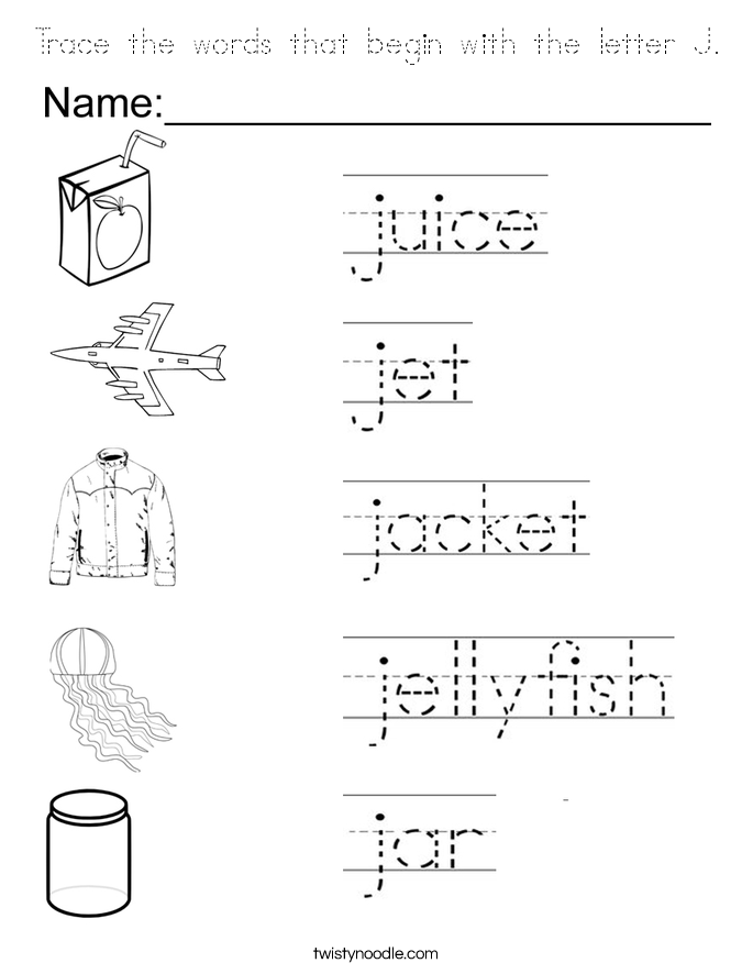 2 letter words with j trace the words that begin with the letter j coloring page 1011