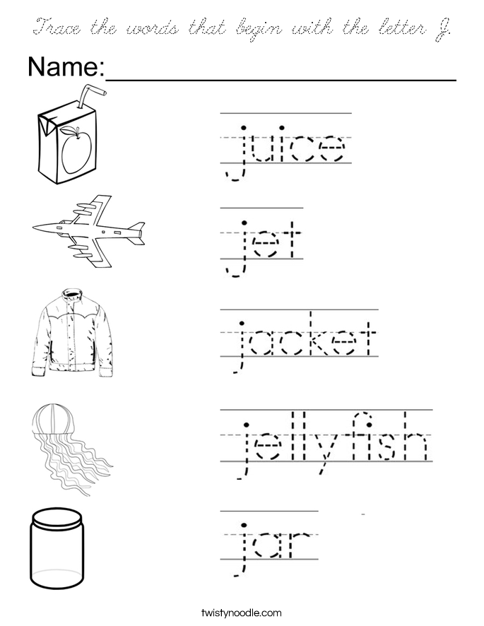 letter j words preschool trace the words that begin with the letter j coloring page 175