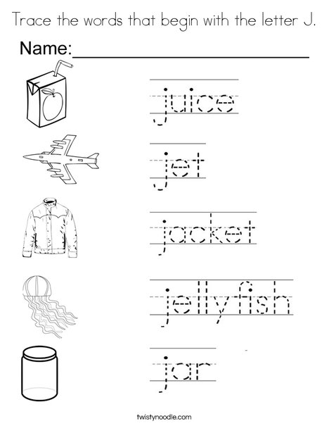 Trace the words that begin with the letter J. Coloring Page