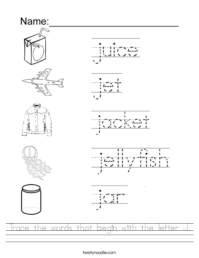 Worksheets Letter J Worksheet trace the words that begin with letter j worksheet twisty noodle worksheet