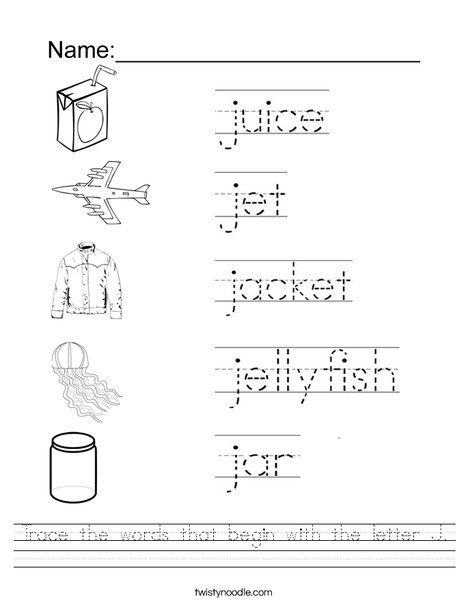 Trace the words that begin with the letter J. Worksheet
