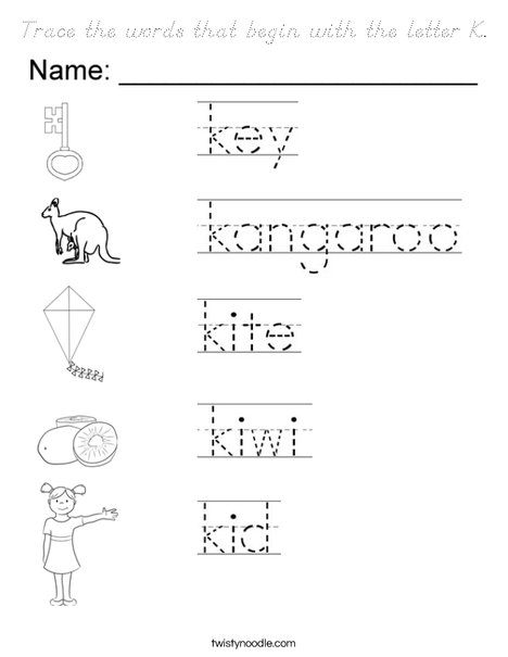 words that start with the letter n trace the words that begin with the letter k coloring page 25735