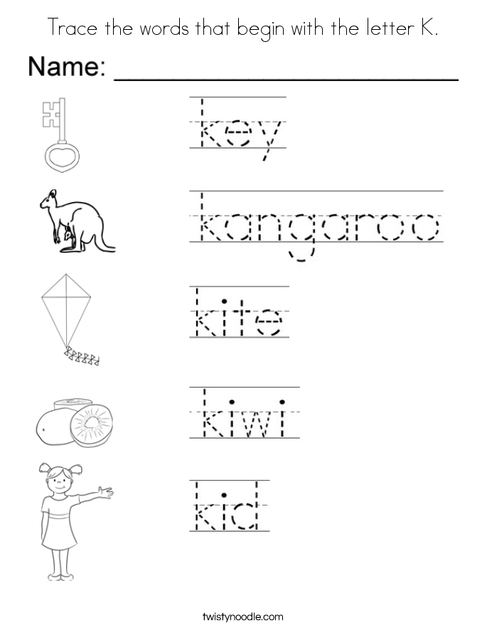 Trace The Words That Begin With The Letter K Coloring Page on Beginning Letter Sounds Preschool Worksheets