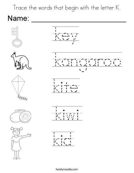 Trace the words that begin with the letter k Coloring Page