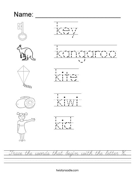 Trace the words that begin with the letter k Worksheet