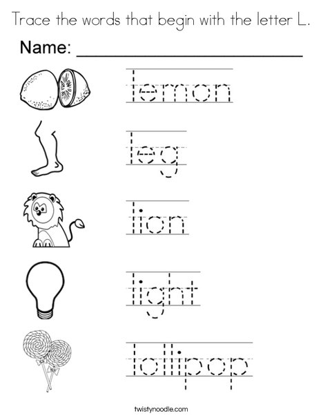 trace the words that begin with the letter l coloring page