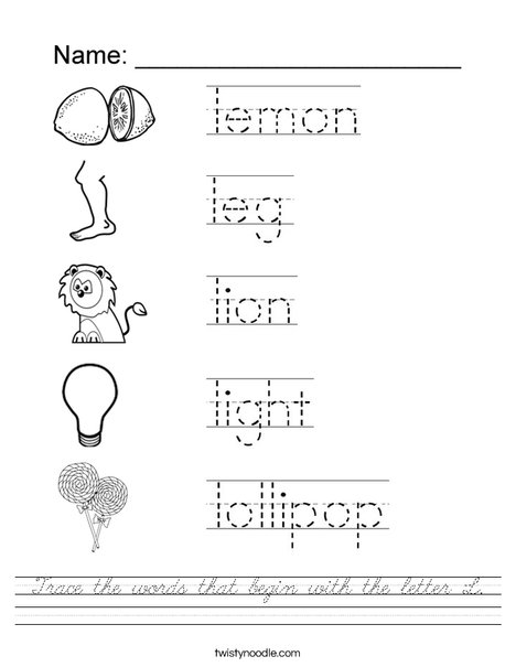 Trace the words that begin with the letter L. Worksheet