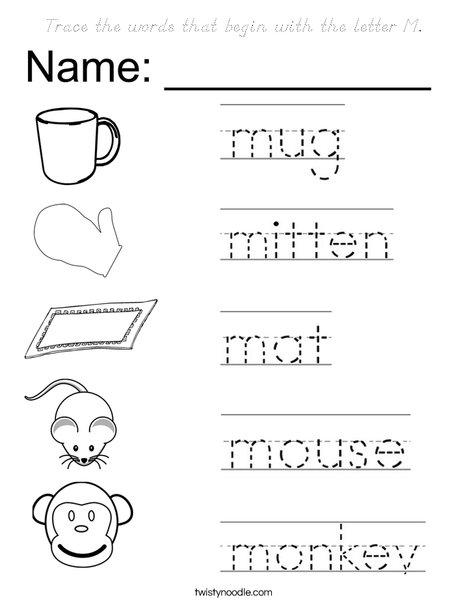 words with the letter x trace the words that begin with the letter m coloring page 1742