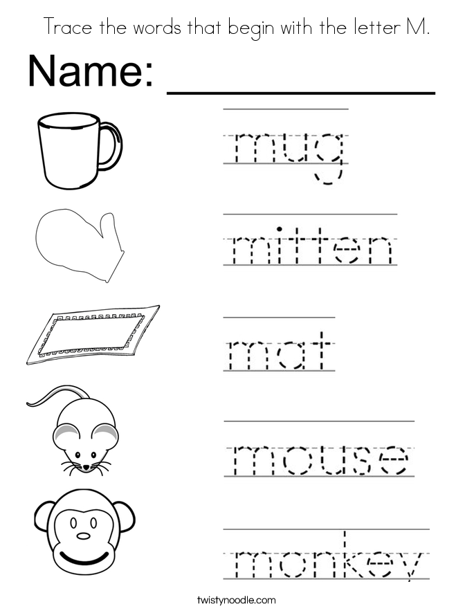 Trace The Words That Begin With The Letter M Coloring Page on Add Numbers And Color Picture