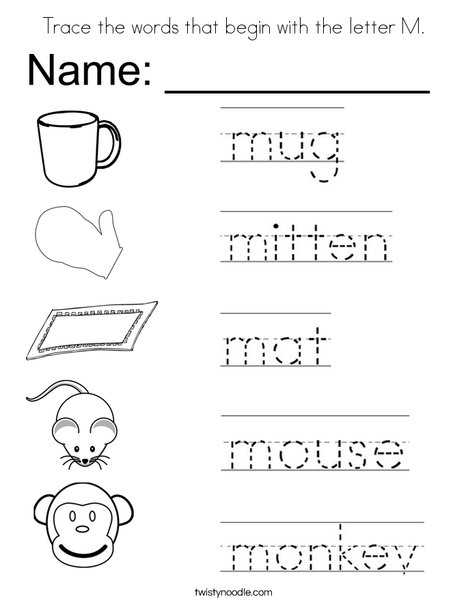 Trace the words that begin with the letter M. Coloring Page