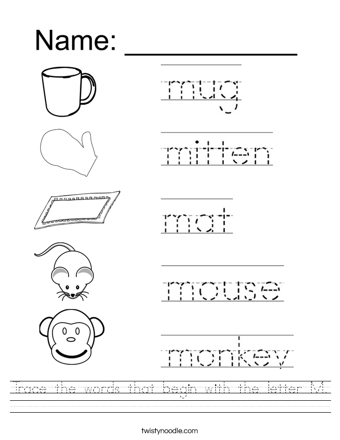Letter M Worksheets Twisty Noodle – Tracing Names Worksheet