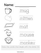 Trace the words that begin with the letter M Handwriting Sheet