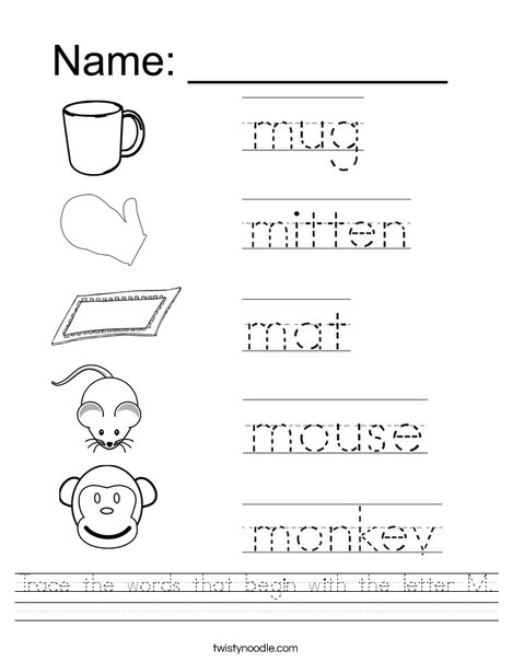 Trace the words that begin with the letter M. Worksheet