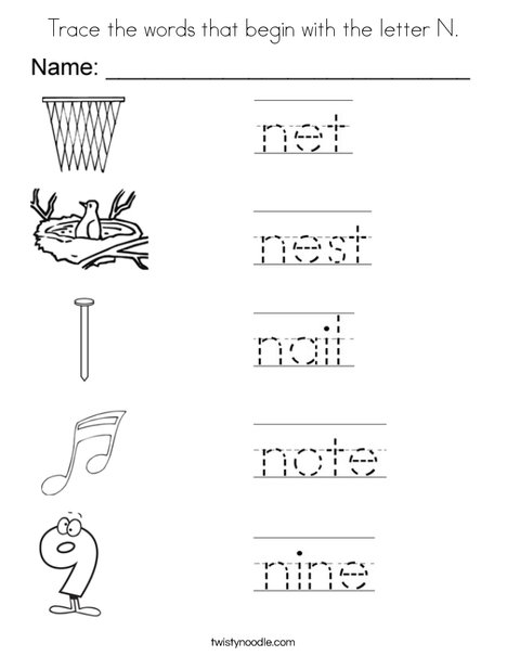 Trace the words that begin with the letter N. Coloring Page