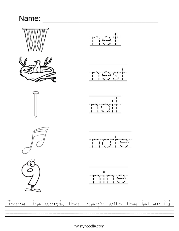 Letter N Worksheets Twisty Noodle – Letter N Worksheets for Kindergarten
