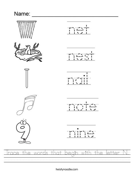 Trace the words that begin with the letter N. Worksheet