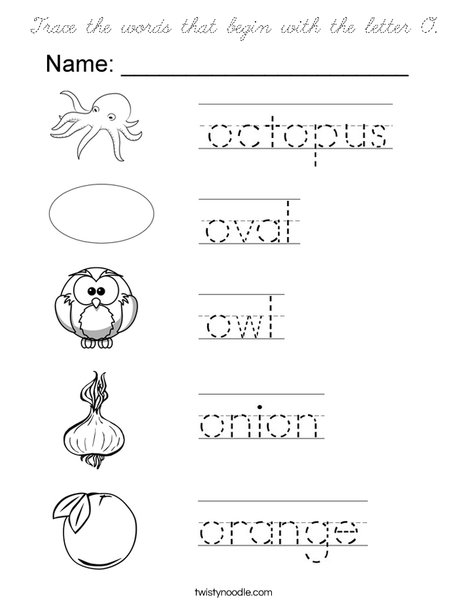 words that start with the letter k trace the words that begin with the letter o coloring page 25734 | trace the words that begin with the letter o coloring page cursive png 468x609 q85