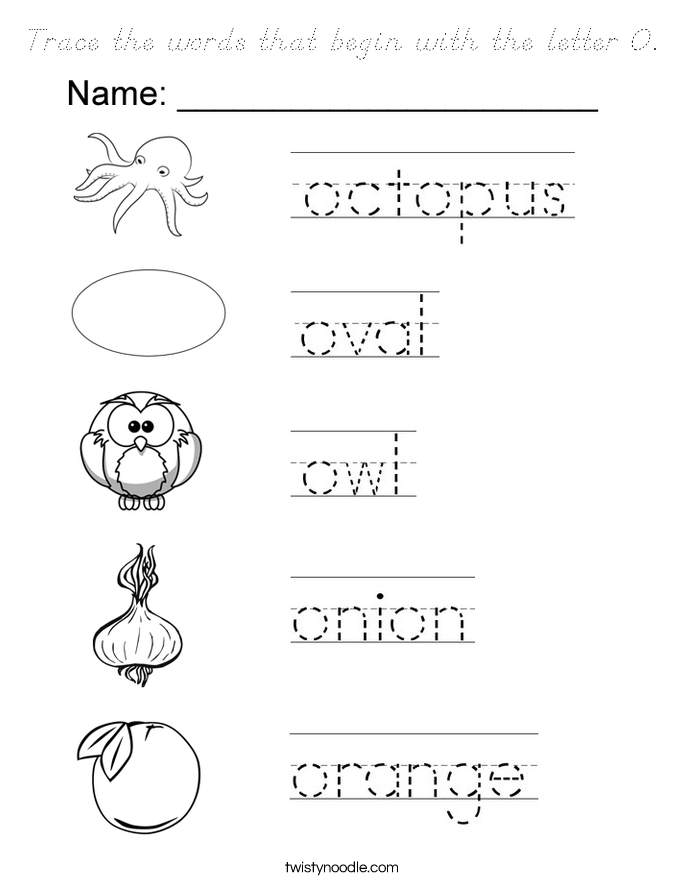 words that start with the letter o trace the words that begin with the letter o coloring page 25736 | trace the words that begin with the letter o coloring page dnoutline