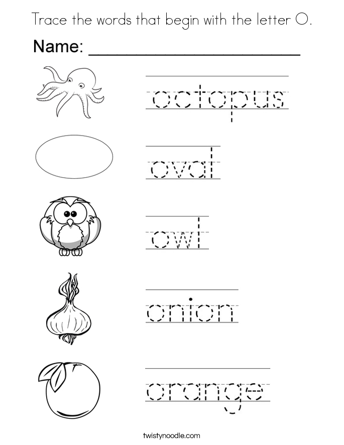 trace the words that begin with the letter o coloring page