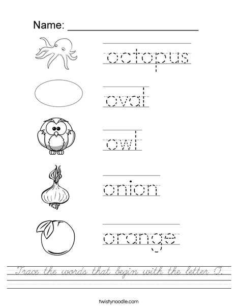 Trace the words that begin with the letter O Worksheet