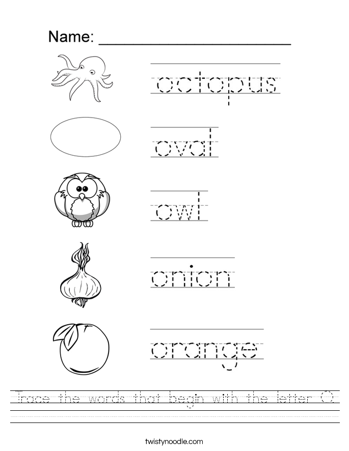 Trace the words that begin with the letter O. Worksheet