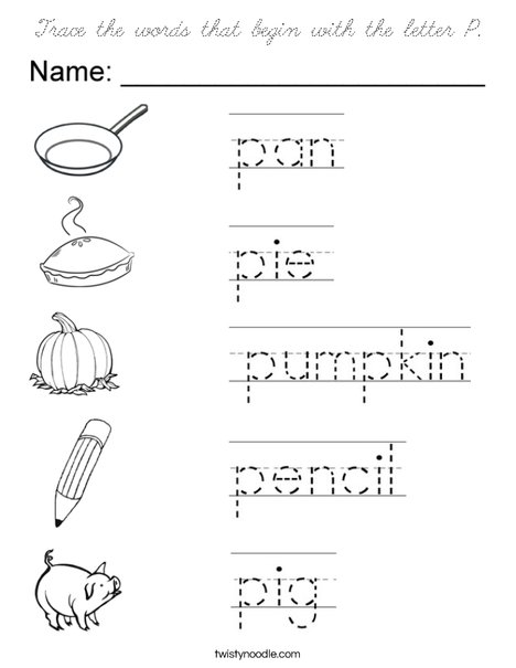 words that start with the letter k trace the words that begin with the letter p coloring page 25734 | trace the words that begin with the letter p coloring page cursive png 468x609 q85