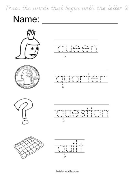 words that start with the letter k trace the words that begin with the letter q coloring page 25734