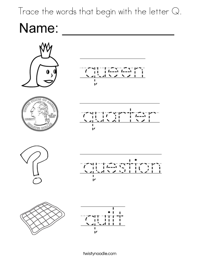 Trace the words that begin with the letter Q. Coloring Page